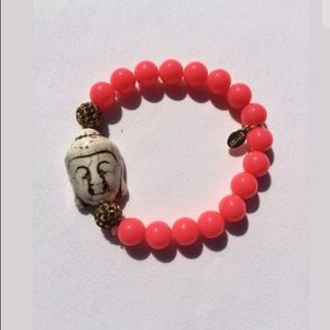EXPRESS Bracelet Coral Beads with Beige Stone